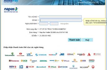Cổng thanh toán Napas đã được tích hợp vào hệ thống của HomePay