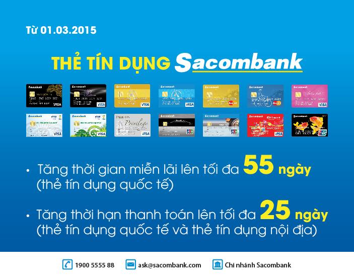 Đăng ký tư vấn mở thẻ tín dụng Sacombank miễn phí để mua hàng trả góp, thanh toán online