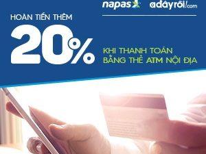 Hoàn tiền 20% khi thanh toán bằng thẻ Napas trên Adayroi.com