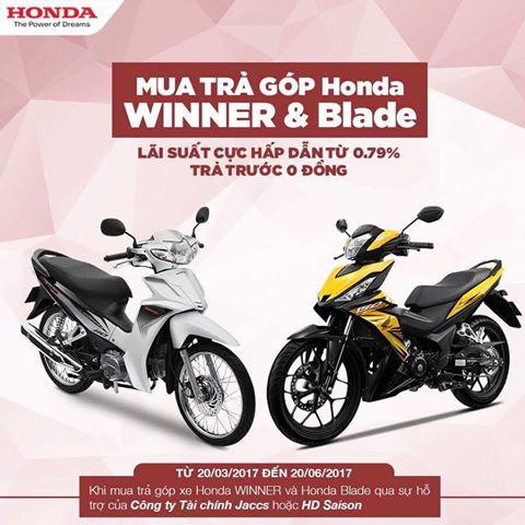 Mua trả góp Honda Winner và Blade trả trước 0 đồng lãi suất ưu đãi
